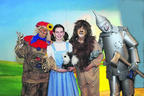 This Is Wiltshire: Maddy Jones as Dorothy, with  Helen Wilcox as the Scarecrow, Lion Linda Dowsett and Tin Man Martin Sowerbutt in The Wizard of Oz in Southwick
