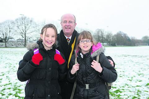 This Is Wiltshire: John Of Gaunt School head Andy Packer with pupils Shannon Lagdon and Livvy Vidler