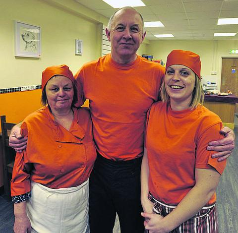 This Is Wiltshire: Proprietor Paul Findlay with staff Maggie Henderson and Charlotte Cole at the new cafe