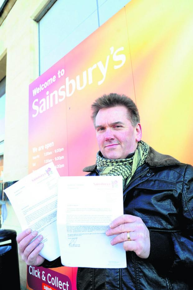 Richard Broadhead, who found a medicine capsule, left, dissolving in his porridge from Sainsbury's, Calne