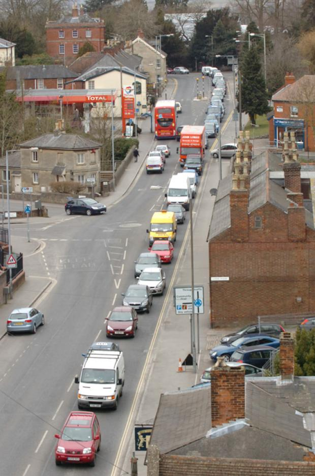 Rush hour traffic in the centre of Devizes