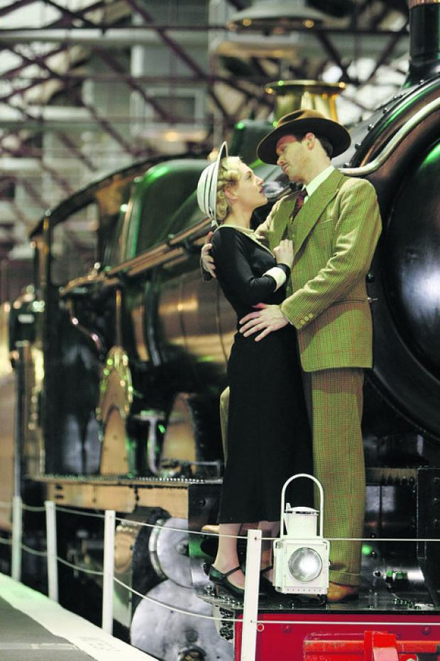 Richard Ede and Charlotte Peters, from the touring production of The 39 Steps, during their trip to the Steam Museum