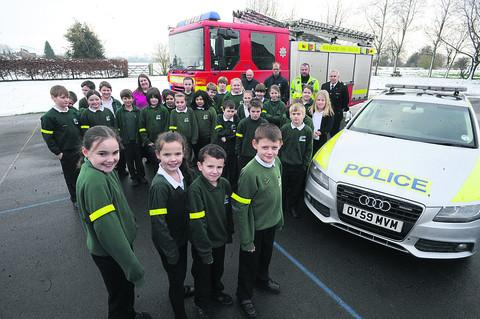 This Is Wiltshire: Pewsey Primary School pupils receive free reflective armbands from Wiltshire Council, Wiltshire Police and Wiltshire Fire & Rescue Service
