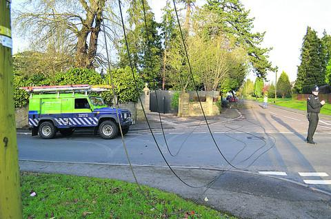 Police and the electricity board at the scene in resident John Bishop's photo