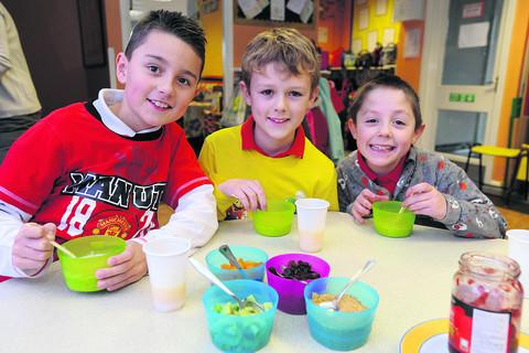 This Is Wiltshire: Keelan, Sean and Sam tuck into their healthy breakfast