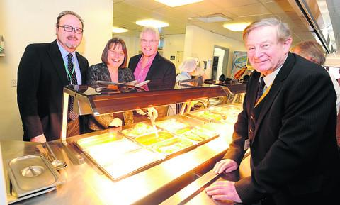 This Is Wiltshire: Coun Peter Hutton, Nerissa Vaughan, chief executive, Great Western Hospitals Trust, Roger Thomas, director of estates, and Phil Matthews, chairman of Wiltshire Volunteer Network, at the cafe (DV107) Picture by Diane Vose