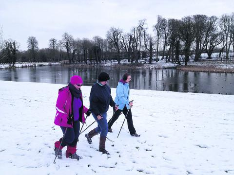 Jules Goddard, Carole King and Janine Hook Nordic walking at Lydiard Park, Swindon. Inset, Sarah Petherbridge and David Wood