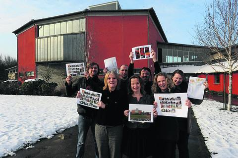 This Is Wiltshire: Clare Jack, front left, and the team at the Wiltshire Music Centre with their plans for improvements following the grant allocation