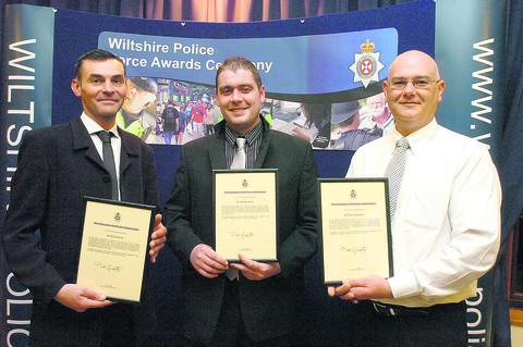 This Is Wiltshire: From left, Roy Arnold, Wesley Kelly, Paul Campell who received police awards for the role they played in rescuing David Jones from the fire he started