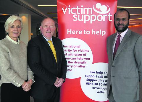 From left, Victim Support Chair of Trustees Enid Rowland, Police and Crime Commissioner for Wiltshire and Swindon Angus Macpherson and Chief Executive of Victim Support Javed Khan