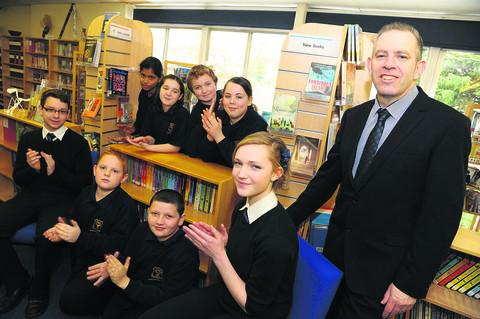 Cash boost Churchfields Academy headteacher Steven Flavin with pupils Mateusz, Sean, Mason, Sophie, Lisenka, Stepahnie, Chris and Sophie. The school is to receive a £17,000 Government grant to help year 7 pupils who have not reached the expected standard