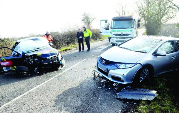 This Is Wiltshire: Crash: Skoda Fabia invovled in smash while woman was taking her driving test