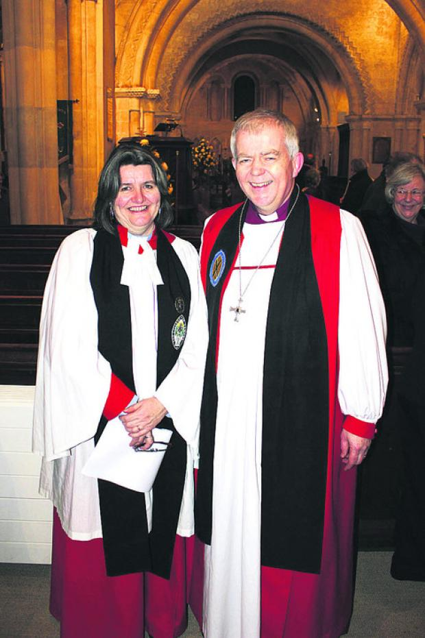 This Is Wiltshire: New Archdeacon the Ven Ruth Worsley with the Bishop of Salisbury, the Rt Rev Nicholas Holtam