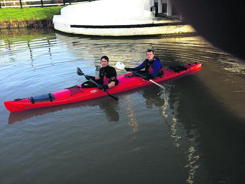 This Is Wiltshire: Danny Spender and Barry Welch, who will take part in the Devizes to Westminster canoe challenge in aid of the Care for Casualties charity, have been doing 34-mile training sessions in preparation