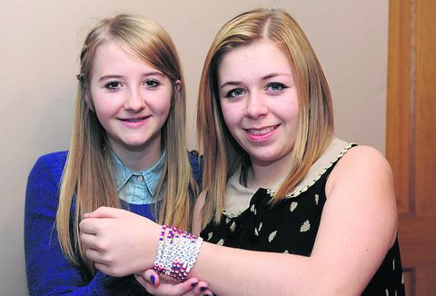 This Is Wiltshire: Cousins Rose Carnohan, left, and Megan Slip with some of their bead bracelets