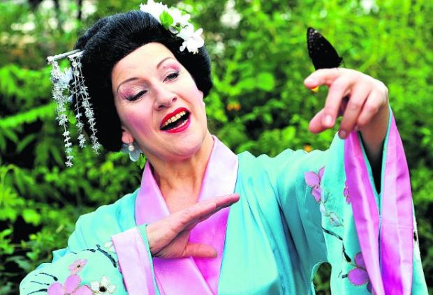 This Is Wiltshire: A special aria Nina Scharubina, from the Grand Opera of Belarus, sang to butterflies at Butterfly World to promote the performance of Madame Butterfly at the Wyvern Theatre on March 3 Picture:James Douglas