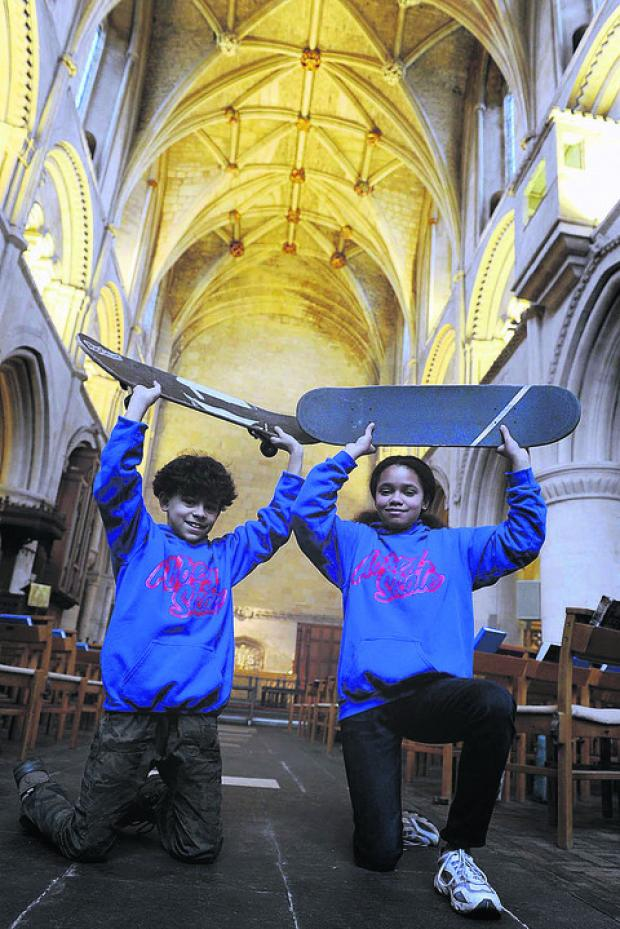 This Is Wiltshire: Ethan, 11, and Rebecca Doyley, 12, prepare for the Abbey Skate
