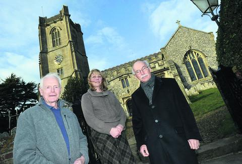 This Is Wiltshire: Mike Hellier, Julie McGowen and Simon Hamilton-Eddy at St Michael's Church