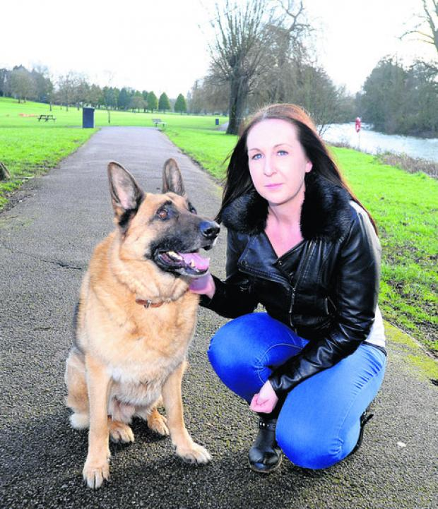 This Is Wiltshire: Ainsley Gillespie with her German Shepherd Jaeger, who chased away an attacker