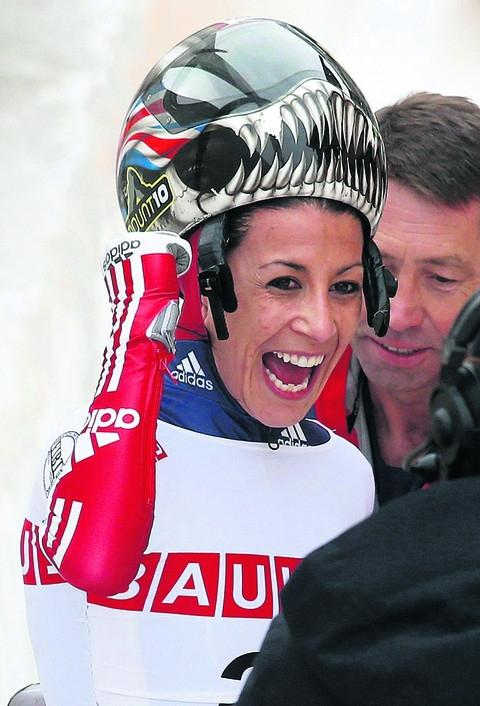 Shelley Rudman celebrates her victory at the World Championships last Friday