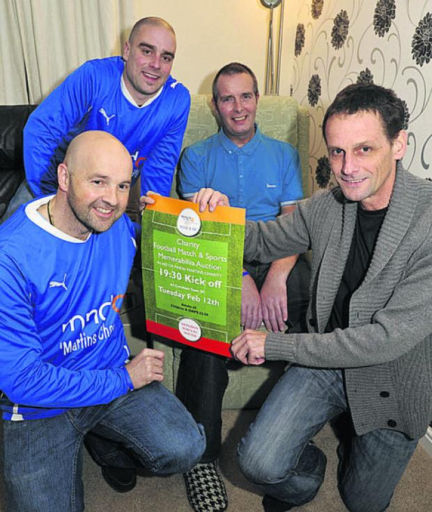 MND sufferer Martin O'Shea, third left, with friends, from left, Simon Bray, James Whitehead and Pete Ralph