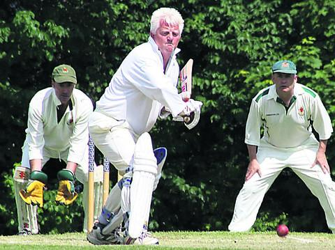 Michael 'Rusty' Rustell playing cricket for Beckington