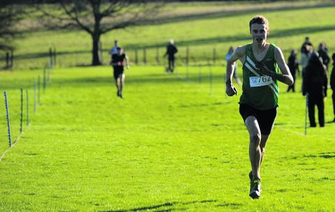 This Is Wiltshire: St Laurence School's Alex Carter leaves his rivals trailing as he reaches the finishing line on his way to victory in the senior boys' event at Grittleton House School on Saturday