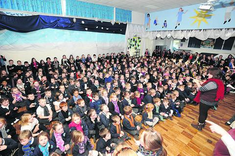 Pupils at Grove School join the Sign2Sing world record attempt