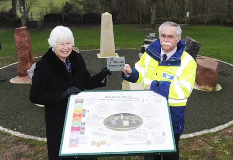 This Is Wiltshire: Elizabeth Devon receives the Wessex Watermark conservation  award from Keith Dispain of Wessex Water