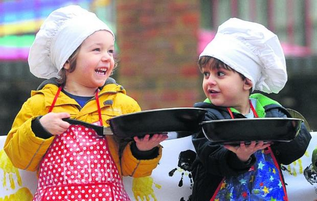 in the running:  the pancake day race at Busy Bees in Peatmoor	    Pictures: Siobhan Boyle