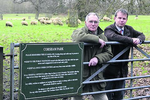 Corsham Court Estate manager Chris Waltho, right, and farmer Francis Candy are making a plea to dog owners
