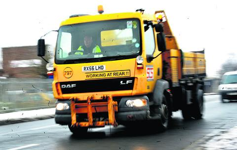 This Is Wiltshire: SCS gritting the roads around Swindon after heavy snowfall last month