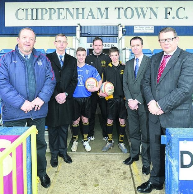 Marking the link-up between Chippenham Town and Abbeyfields School are (l-r) Barry Stephens (Town Community Development co-ordinator), Neil Blackmore (Town vice-chairman), Joshua Legg, Pete Hussey, Matthew Bartlett, David Nicholson and Mark Fuller