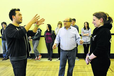 This Is Wiltshire: Actor Mark Beltzman (above, centre) leading a workshop at Trowbridge Town Hall