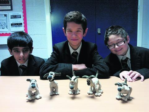 This Is Wiltshire: Abbeyfield School pupils  Robindeep Dhaliwal, Adam Snoddy, Lewis Vincent with their Aardman Animation workshops models