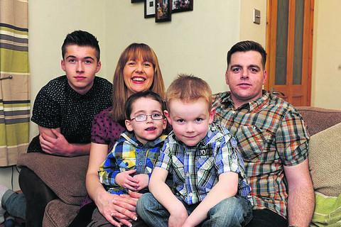 Lisa Richardson and James Stone with children Jack Richardson and Charlie and Archie Stone