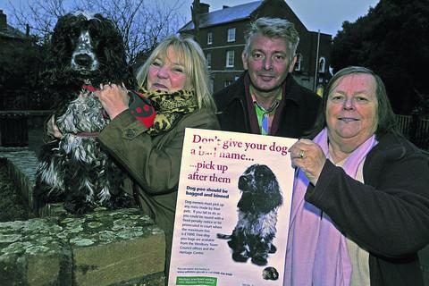 Community area manager Sally Hendry with poster dog Harry, Area Board chairman Mike Cuthbert-Murray and Mayor Sue Ezra
