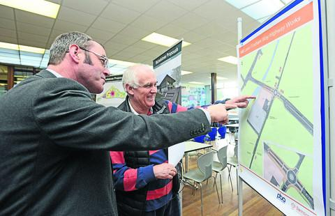 Local resident Brian Boston and John Costello of Halcrow discuss the blueprint