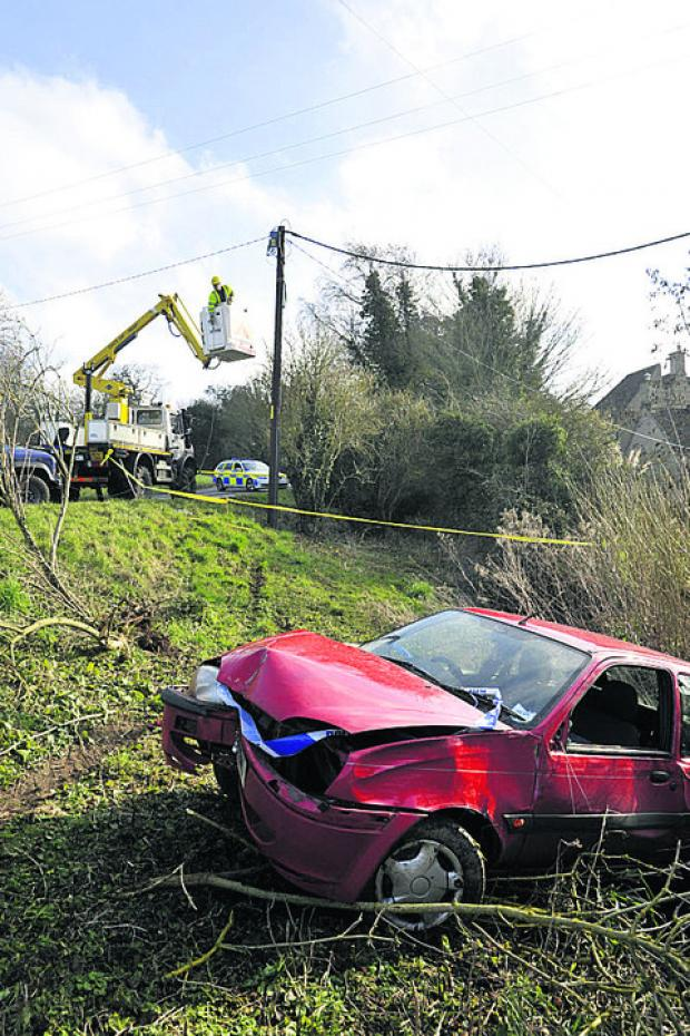 The scene of the single-car crash today