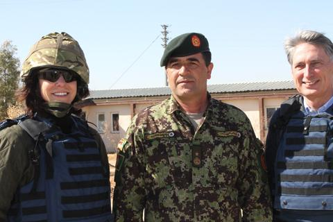 Claire Perry, Brigadier General Sheren Shah of Afghan National Army and the Rt Hon Philip Hammond MP