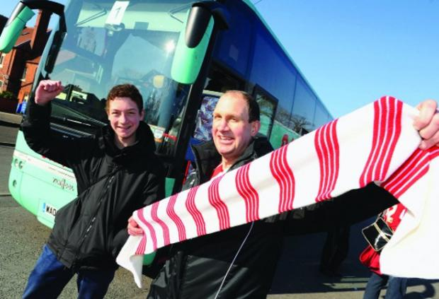 Travelling support Setting off for Tranmere are Daniel Pretlove and Gary Pretlove.  Pictures: DAVE COX