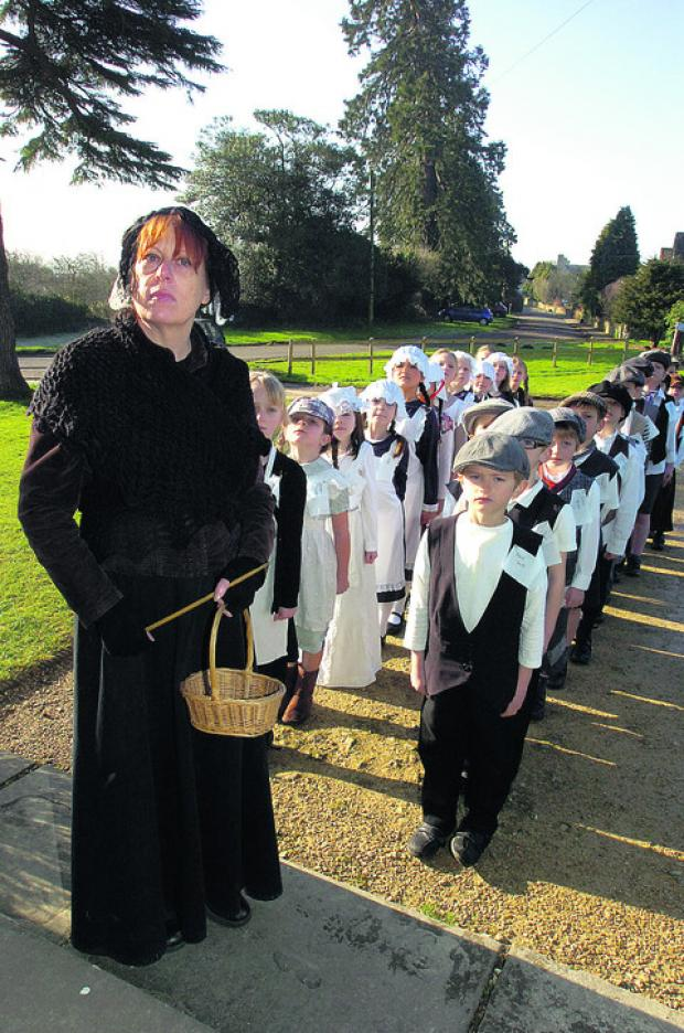 This Is Wiltshire: Sue Dann, as Miss Squires, with children