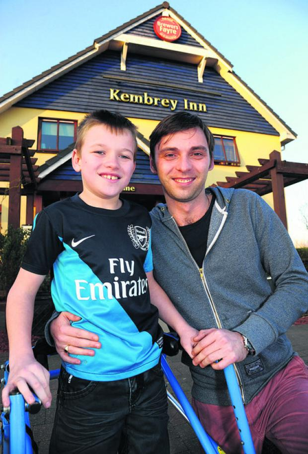 Manager Andy Munday, of the Kembrey Inn, wants to raise £35,000 for an operation for his son Lewis, who has cerebral palsy