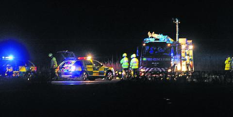 This Is Wiltshire: Emergency services at the scene last night