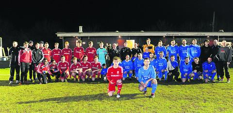 This Is Wiltshire: Swindon Town Youth line up against a select team of Corsham area players, with captains Alex Ferguson and Scott Lye up front