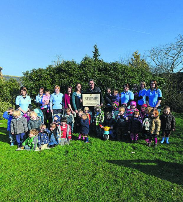 Paul Martin with staff and children at Townsend Barn Nursery