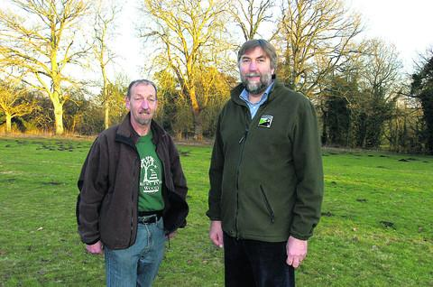 This Is Wiltshire: Stuart Hislop, of Drews Pond Wood Project, and Gary Mantle, from Wiltshire Wildlife Trust, at the site of the cricket field and orchard