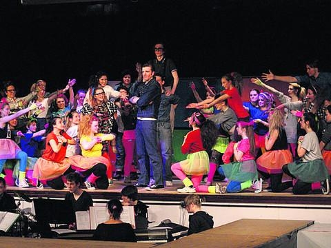 This Is Wiltshire: The cast of Back to the 80s in action on stage at Matravers School