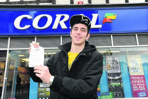 This Is Wiltshire: Simon Pike with the betting slip which was just one win away from a £1 million prize