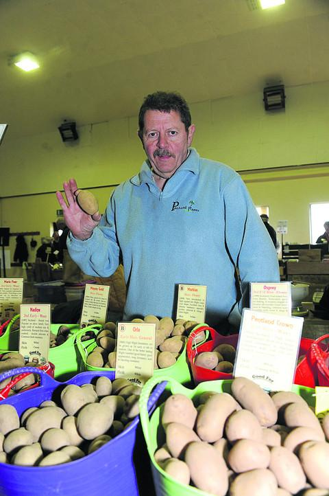 Seed potato supplier Chris Smith with some of his 80-plus varieties during Codford Pototo Day